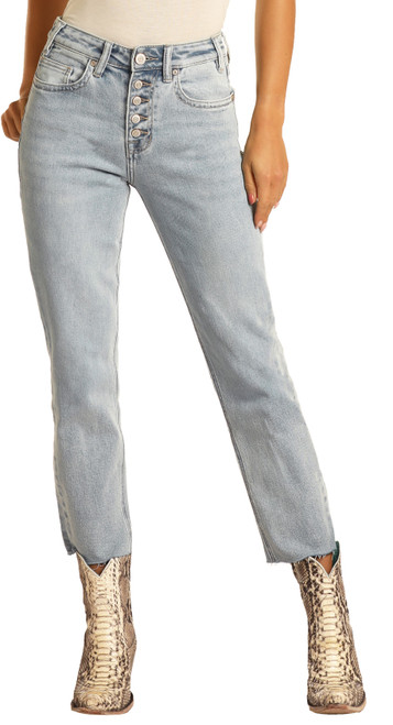 High Rise Extra Stretch Button Fly Cropped Jeans #WSC9797
