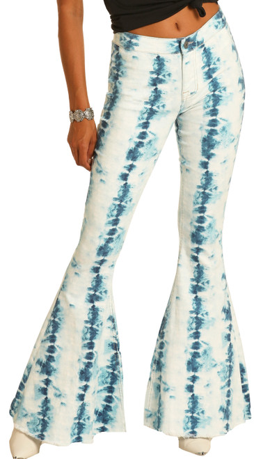 Bargain Bells High Rise Stretch Pull-On Tie Dye Flare Jeans #WPB9758