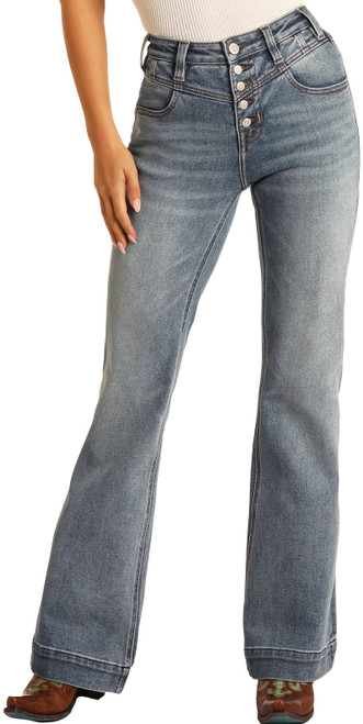 High Rise Extra Stretch Button Fly Trouser Jeans #W8H9764