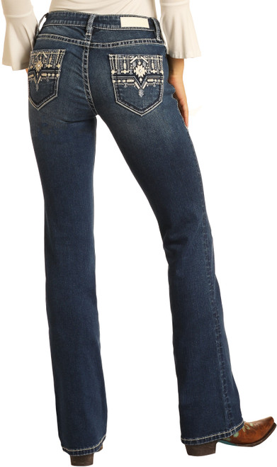 Low Rise Aztec Embroidered Rival Jeans #W6-9773