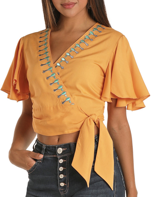 Embroidered Wrap Blouse #B5-8388