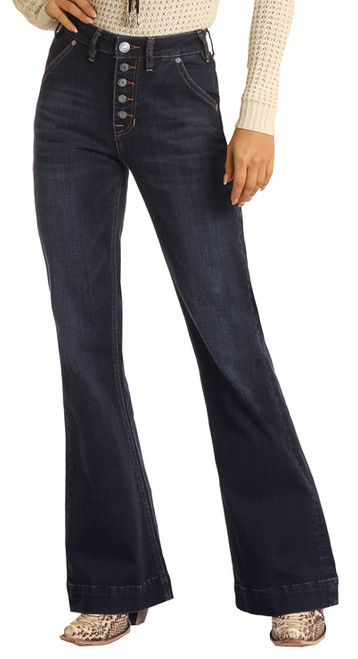 High Rise Extra Stretch Button Fly Trouser Jeans #W8H1663