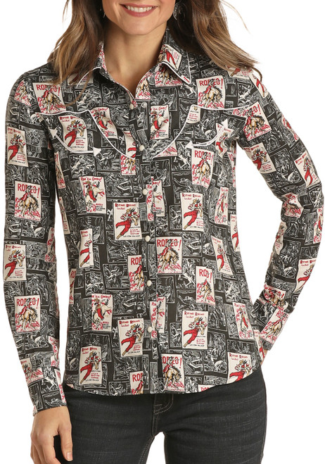 Rodeo Poster Print Western Shirt #22S1937