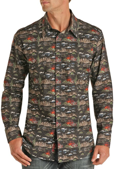 Slim Fit Dale Brisby Desert Print Long Sleeve Snap Shirt #B2S1316