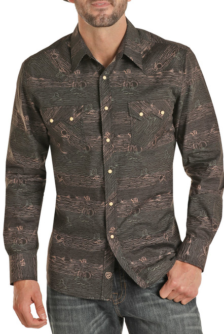 Slim Fit Desert Print Long Sleeve Snap Shirt #B2S9420
