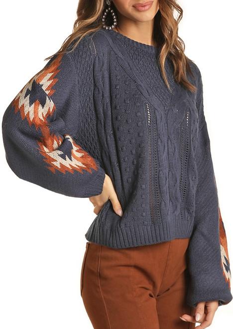 Aztec Balloon Sleeve Sweater #46-1158