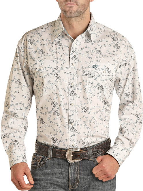 Relaxed Fit Floral Print Long Sleeve Snap Shirt #36S1605