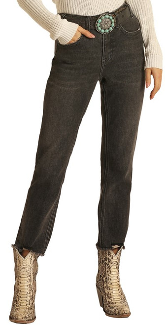 High Rise Stretch Straight Cropped Jeans #WSC1675