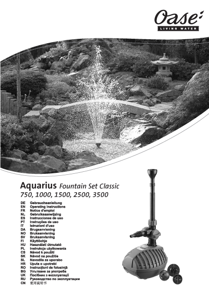 Instruction Manual for all models of the Oase Start Aquarius Fountain Pump