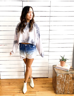 ombre washed denim shorts