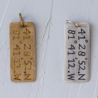 Cleveland-inspired charm jewelry, CLE, coordinates jewelry, metal bar charms, numerical charms