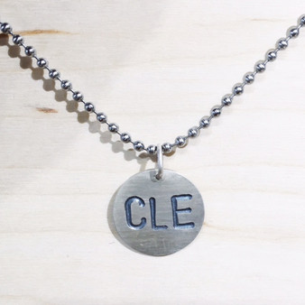 Cleveland, CLE charm, silvery charm, silver bead necklace