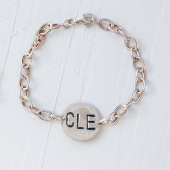 CLE charm, Cleveland, sterling silver, chain-link bracelet
