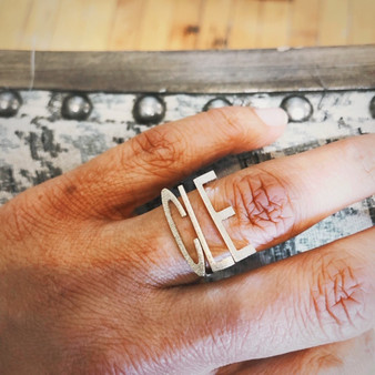 alphabet ring, stackable ring, customizable jewelry