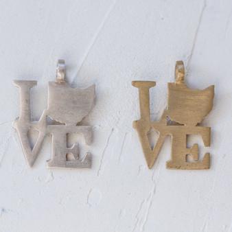 love charm, Buckeye State jewelry, Ohio-shaped metal charm, home state charm jewelry, Ohio jewelry