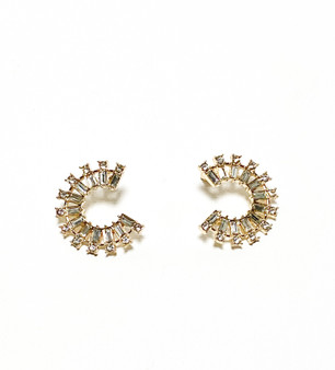 Baguette stone circle earring