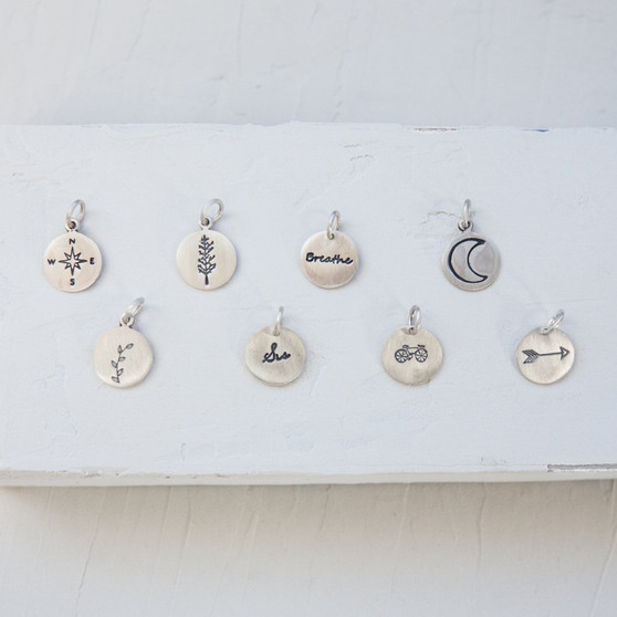sterling silver charms, hand-stamped charms