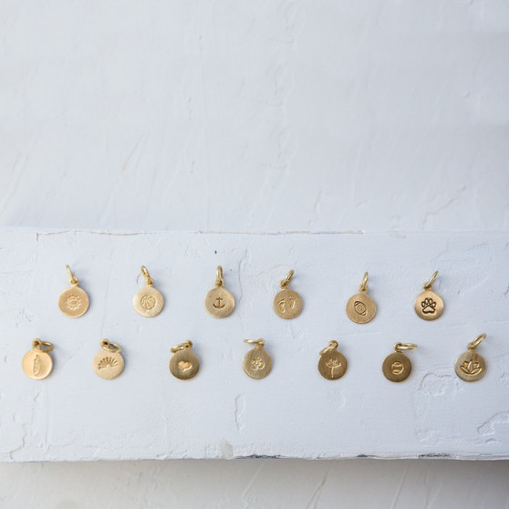 brass charms, hand-stamped charms