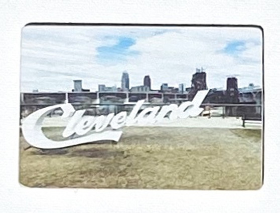 Cleveland Skyline / Wooden Magnet / Small