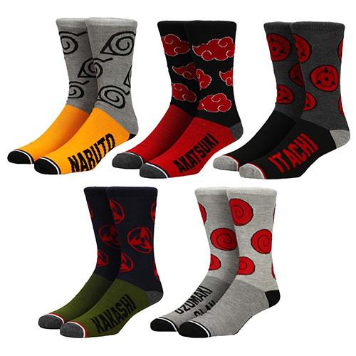 Naruto Split Color 5-Pack Crew Socks