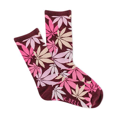 Pink Cannabis Socks For Women