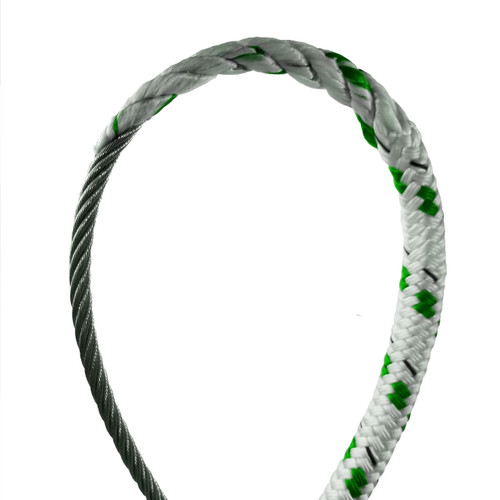 """3/8"""" - Wire-to-Rope Halyard w/ 5/32"""" Wire Diameter (Green Tracer)"""