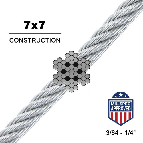 7x7 | Stainless Steel Wire Rope (Aircraft Cable) MIL-DTL 83420
