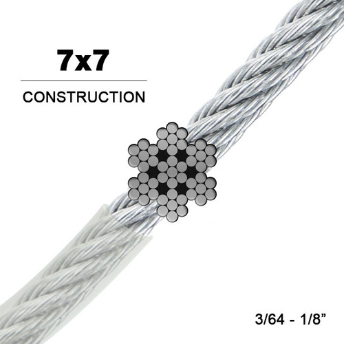 7x7   Vinyl Coated Stainless Steel Wire Rope (Aircraft Cable)