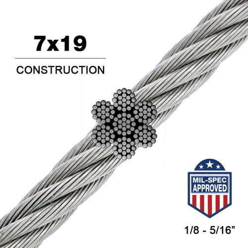 7x19 | Galvanized Steel Wire Rope (Aircraft Cable) MIL-DTL 83420