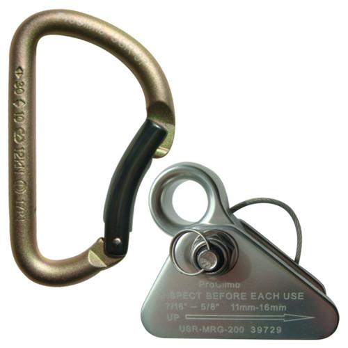 Mod. D Carabiner + Aluminum Mini Rope Grab Bundle