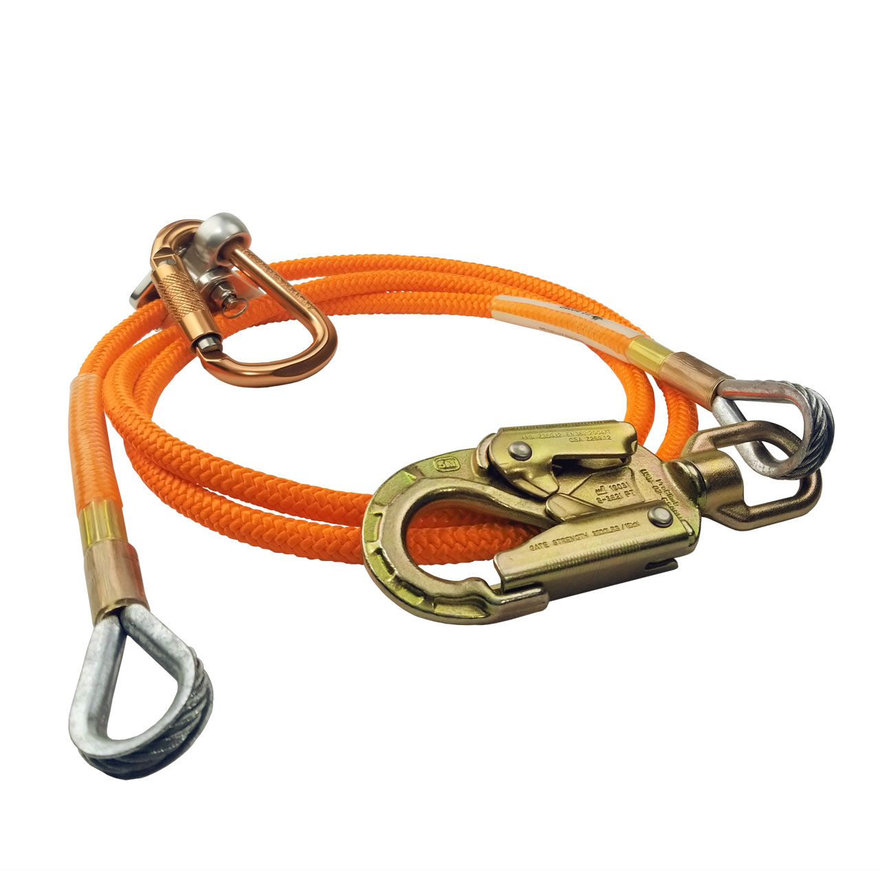 Flipline with Triple Lock Carabiner Adjuster for Fall Protection Low Stretch Arborist Giraffe-X Steel Wire Core Flip Line Kits Adjustable Lanyard 5//8 x 12 Tree Climbers Cut Resistant