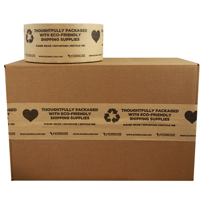 "2.75""x 450 ft - Water-Activated Tape - Kraft Paper Reinforced - Printed ""Thoughtfully Eco-Friendly""- Single Roll"