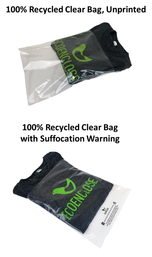 Recycled Clear Unprinted Bag and With Suffocation Warning