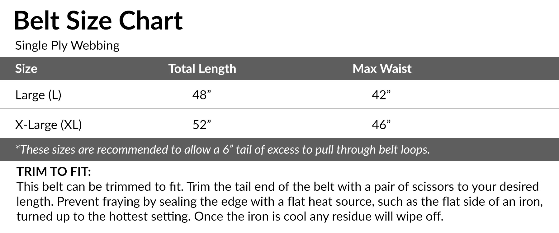 "Belt sizes should allow 6"" of tail and can be trimmed as needed."