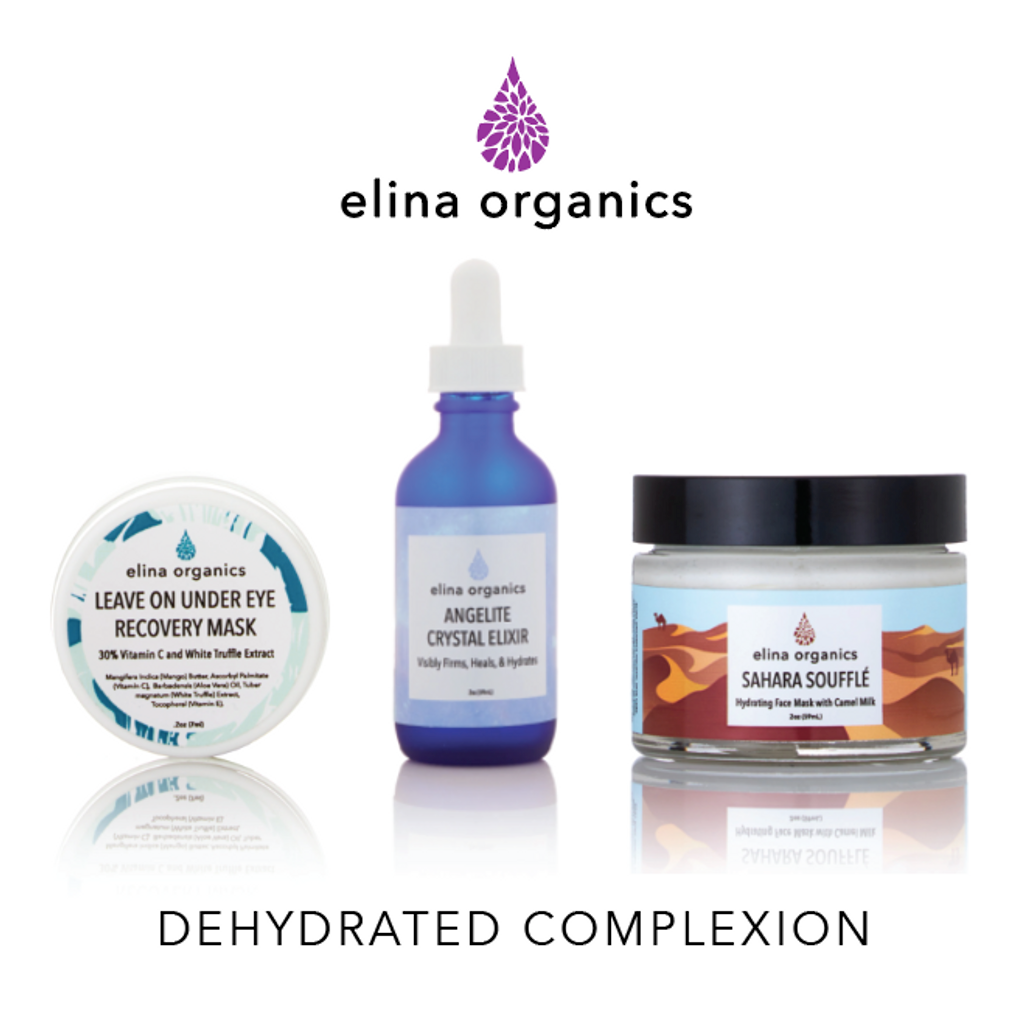 Dehydrated Complexion Set: Angelite Crystal Elixir, Under Eye Recovery Mask, Sahara Souffle