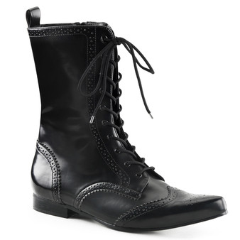 "**1"" Heel, Wingtip Lace-Up Mid-Calf Oxford Boot"