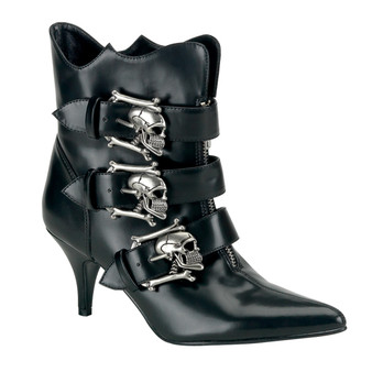 "**2 3/4"" Goth Punk Witchy Ankle Boot W/ Silver Skull Buckle"