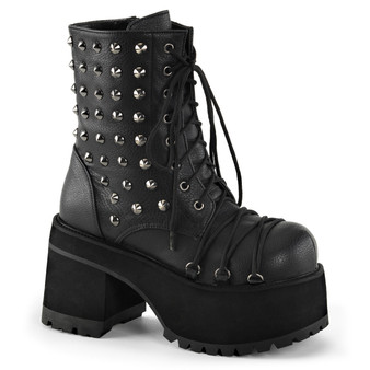 """**3 3/4""""Heel,2 1/4""""PF Ankle Boot w/Criss-Cross Lace & Spikes"""