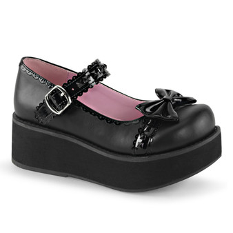 """**2 1/4""""PF Mary Jane w/Bow, Studded Strap & Scalloped Detail"""
