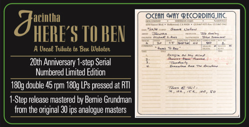 Jacintha Here's To Ben A Vocal Tribute To Ben Webster One-Step Numbered Limited Edition 180g 45rpm 2LP