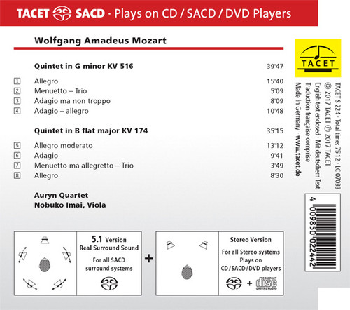 Mozart Quintets in G & B Hybrid Multi-Channel & Stereo SACD