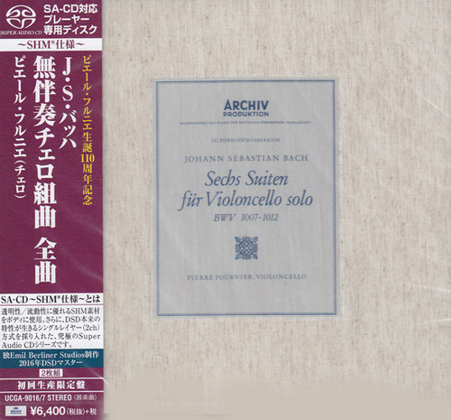 Pierre Fournier Bach The Cello Suites Single-Layer Stereo Japanese Import 2SHM-SACD