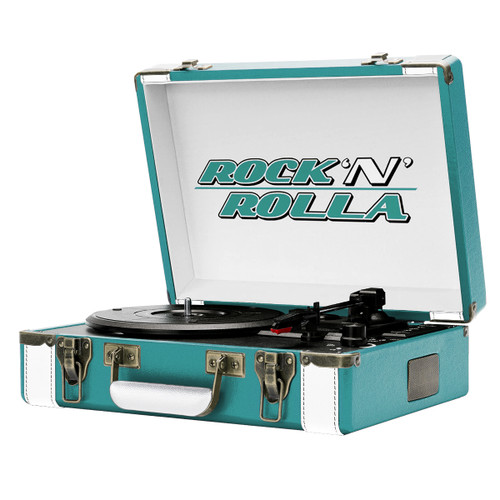 Rock 'N' Rolla Premium Portable Briefcase Turntable (Teal/White)