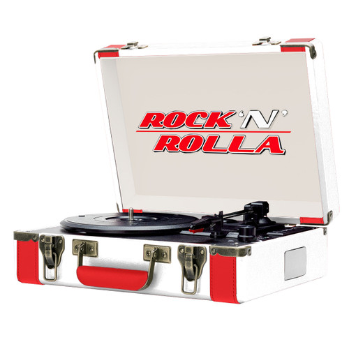Rock 'N' Rolla Premium Portable Briefcase Turntable (White/Red)