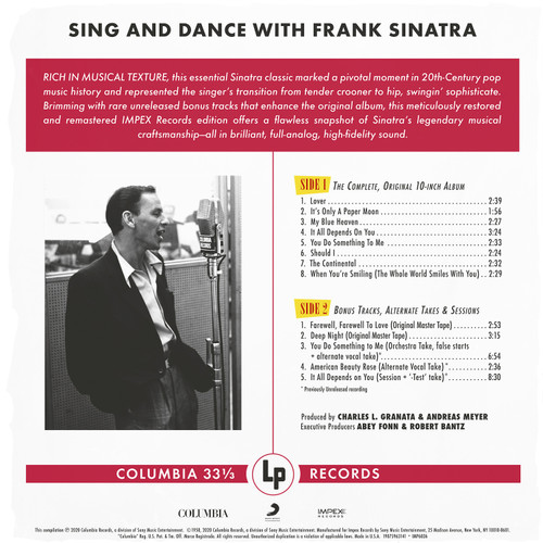 Frank Sinatra Sing And Dance With Frank Sinatra Numbered Limited Edition 180g LP (Mono)