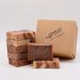STANDARD SOAP BOX. Pictured: Almond, Cinnamon & Oatmeal.  Packaging: 7 bar box.