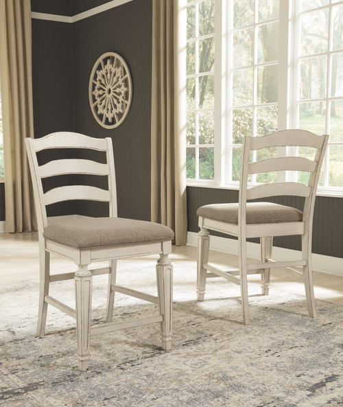 Realyn Chipped White Upholstered Barstool (Set of 2)