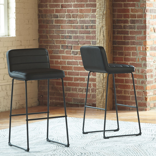 Nerison Black Tall Upholstered Barstool (Set of 2)