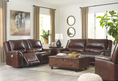 Catanzaro Mahogany 2 Seat Power Reclining Sofa ADJ HDRST, Power Reclining Loveseat/CON/ADJ HDRST & Power Recliner/ADJ HDRST
