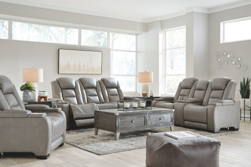 The Man-Den Gray Power Reclining Sofa with ADJ HDRST, Power Reclining Loveseat/CON/ADJ HDRST & Power Recliner/ADJ HDRST